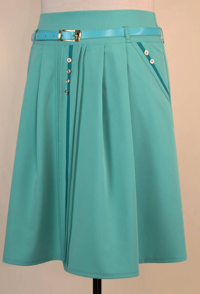 Женская летняя юбка с ремнем и карманами 48-54 р ( бирюза, коралловый )