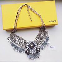 Колье женское Fendi серебро , бижутерия магазин