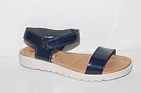 Кожаная летняя обувь. Босоножки на девочек от фирмы Солнце YT6081 темно - синий (31-36)