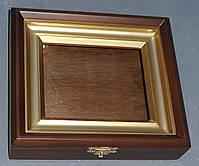 Ровный миниатюрный киот из ольхи с деревянной рамкой, покрытой акриловой краской, имитирующей золото., фото 3