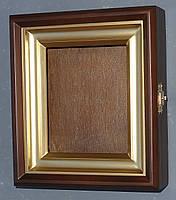 Ровный миниатюрный киот из ольхи с деревянной рамкой, покрытой акриловой краской, имитирующей золото., фото 2