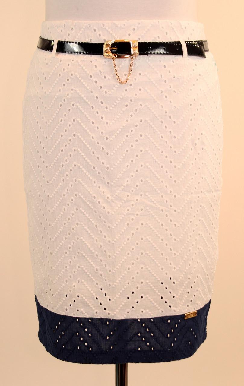 Летняя юбка карандаш прошва с ремнем 46-52 р ( синий, бирюза, белый )