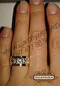 Серебряное кольцо с золотом и цирконом  №36о