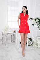 Выразительное женское платье-шинель с отложным воротником и складками по низу юбки без рукавов коттон мемори