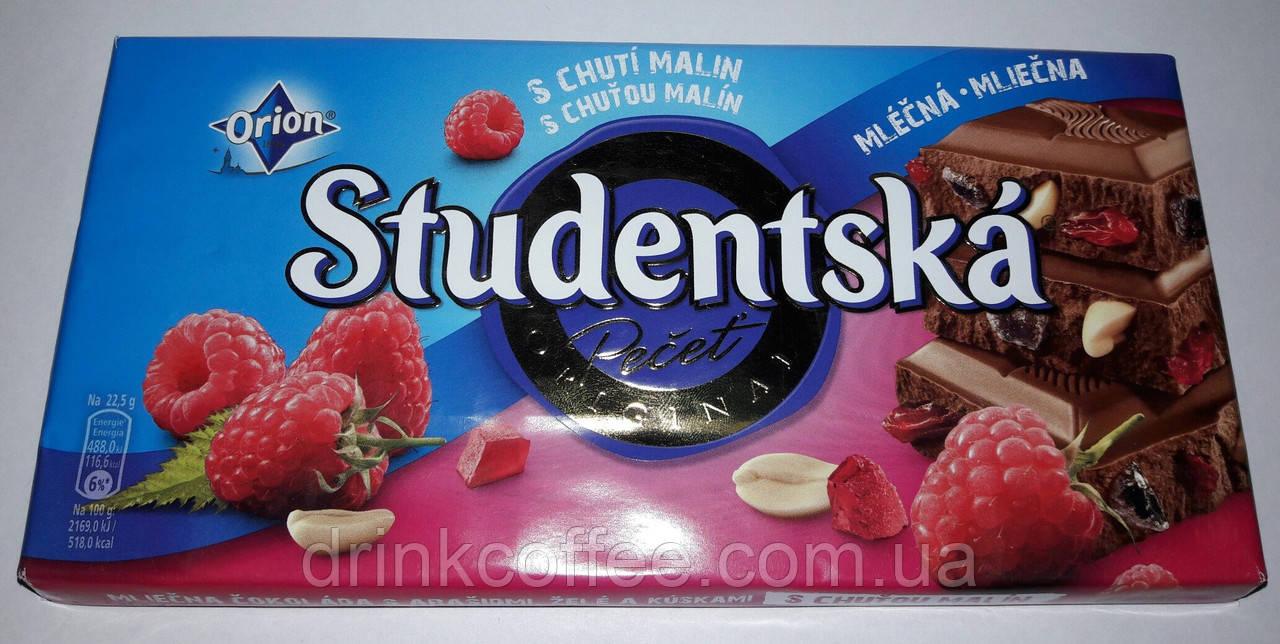 Шоколад ORION Studentska молочный с арахисом и малиной, 180 г