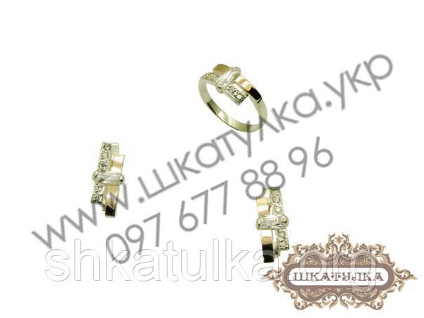 Серебряный гарнитур с золотом и фианитом №38о