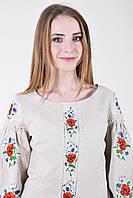 """Блуза - вышиванка  """"Полевые маки"""" лён (Л.Л.Л)"""