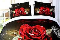 Полуторное постельное белье  Лилия с HD эффектом красные розы