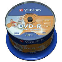Диск DVD-R Verbatim 4.7Gb 16X CakeBox 50шт AZO Print (43533)