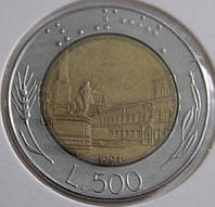 Монета Италии 500 лир 1991 г.
