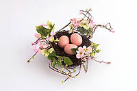 Пасхальная композиция декоративная Птичье гнездо (Пасхальный декор) 20 см 758-006