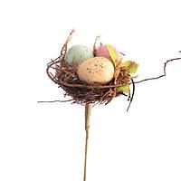 Пасхальная композиция декоративная Птичье гнездо на подставке (Пасхальный декор) 22 см 758-019