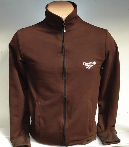 Молодежная спортивная кофта копия Reebok на молнии, коричневого цвета c7196fe4e70