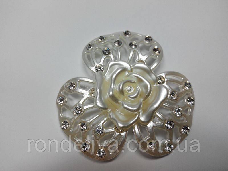 Цветок перламуторовый со стразами Роза
