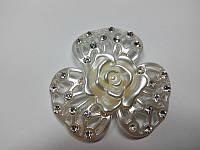 Цветок перламуторовый со стразами Роза, фото 1