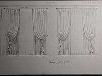 эскиз - прорисовка дизайн штор для спальни