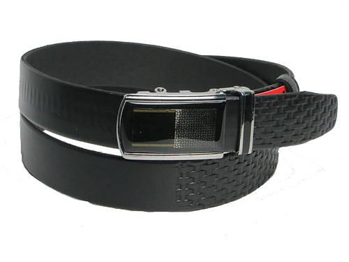 Брючный мужской кожаный ремень пряжка автомат Skipper 5592 чёрный ДхШ: 130х3,5 см.