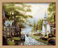 "Картина по номерам на холсте ""Улица после дождя"". Худ-к Томас Кинкейд, MG034, 40х50см, фото 1"