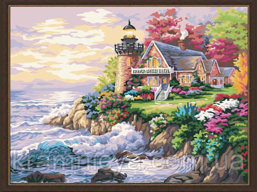 "Картина раскраска по номерам на холсте ""Маленький маяк у дома"", MG115, 40х50см"