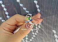 Цветное кольцо с цветочком из серебра, фото 1