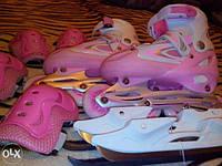 Ролики роликовые коньки + ледовые коньки + сумка + защита, фото 1