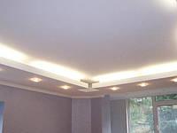 Подвесные потолки в гостиной из гипсокартона