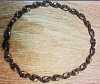 """Колье-ожерелье """"Плетенный стиль""""с каплями страз"""