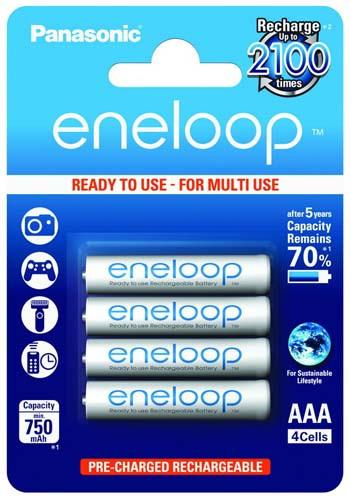 4шт аккумулятор Panasonic Eneloop AAA 750 Mah