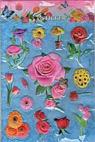 Наклейки обьемные пластиковые  25  х  20 розы на голубом