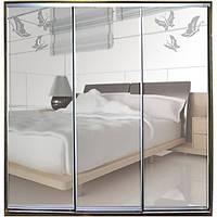 Шкаф-купе Зеркало с рисунком пескоструй на 2 двери трехдверный Классик
