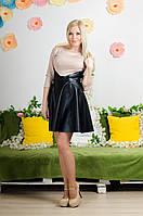 Платье комбинированное с кожей бежевое, фото 1