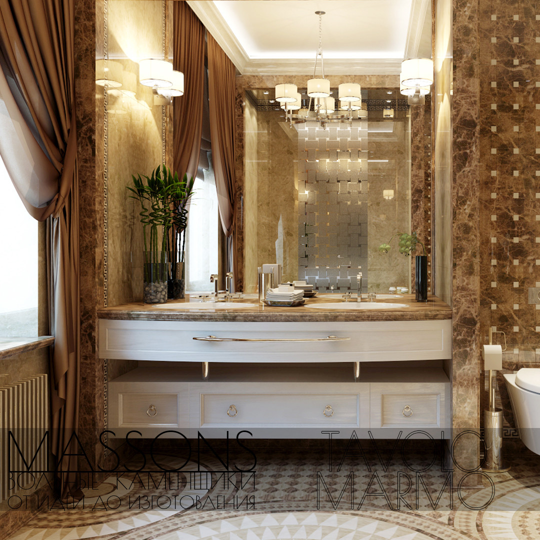 Мраморная столешница в ванной , фото 1
