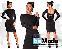 Стильное женское платье средней длины с вырезом на спине черное