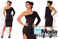 Элегантное женское платье с одним рукавом из дайвинга черное