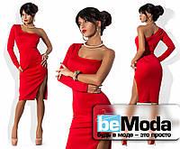 Элегантное женское платье с одним рукавом из дайвинга красное