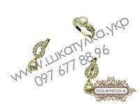 Серебряный гарнитур с золотом и жемчугом № 40о