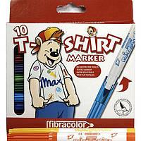 """Фломастеры Fibracolor 565TSM1 10 цв 4,5мм круглые """"T-Shirt Marker"""" (ткань) картонный подвес"""