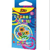 Карандаши цветные Олли OL-1006 6цветов круглые восковые, картонная коробка с подвесом