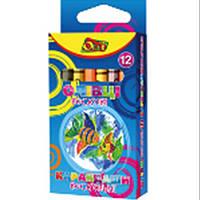 Карандаши цветные Олли OL-1012 12цветов круглые восковые, картонная коробка с подвесом