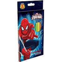 """Карандаши цветные ПЛК SMAB-US1-1P-18 18цветов """"Spider-man"""" с карт/европодвесом, дерево - липа"""