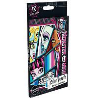 """Карандаши цветные ПЛК MHBB-US1-1P-18 18цветов """"Monster High"""" с карт/европодвесом, дерево - липа"""