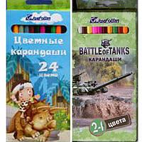 """Карандаши цветные J_Otten 7303-24B 24цвета """"Каменный век"""", """"Battle of tanks"""",  картонная коробка с подвесом"""