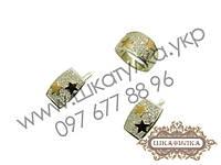 Серебряный гарнитур с золотом и цирконом №42о