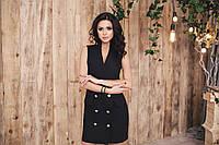 Платье Стильное Офисное украшено пуговицами цвет чёрный