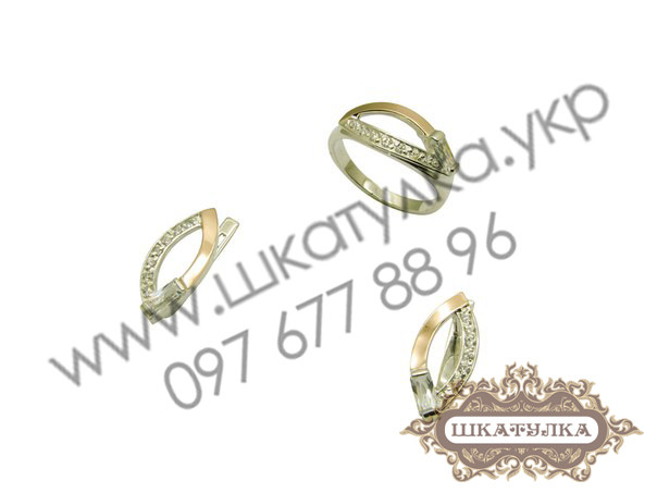 Серебряный гарнитур с золотом №43о