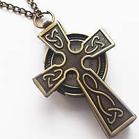 """Часы подвеска """"Крест"""" на цепочке."""