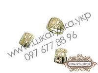 Серебряный гарнитур с золотом и цирконом №44о
