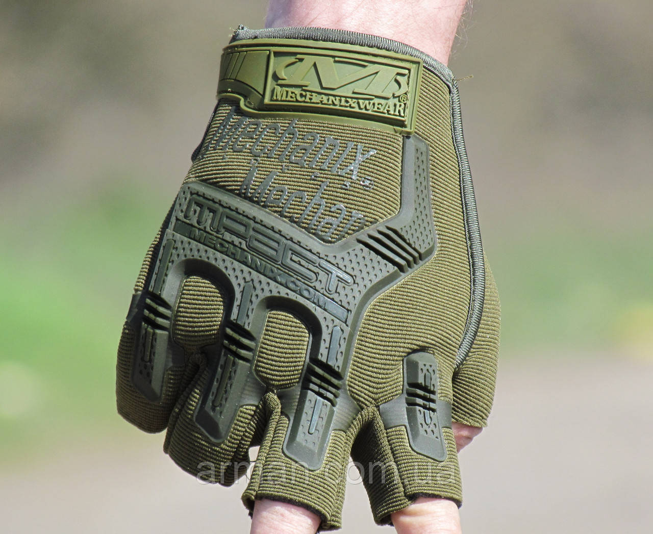 Перчатки Mechanix M-Pact(олива), полупалые, защита костяшек