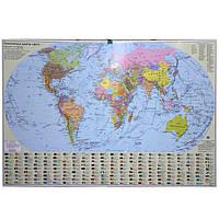 Карта настенная Ипт 77х110 Мир. Общегеографическая карта (картон) М1:32000000