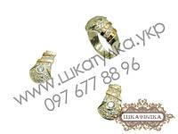 Серебряный гарнитур с золотом и цирконом №45о